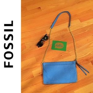 Fossil Bright Blue Pebbled Leather Crossbody